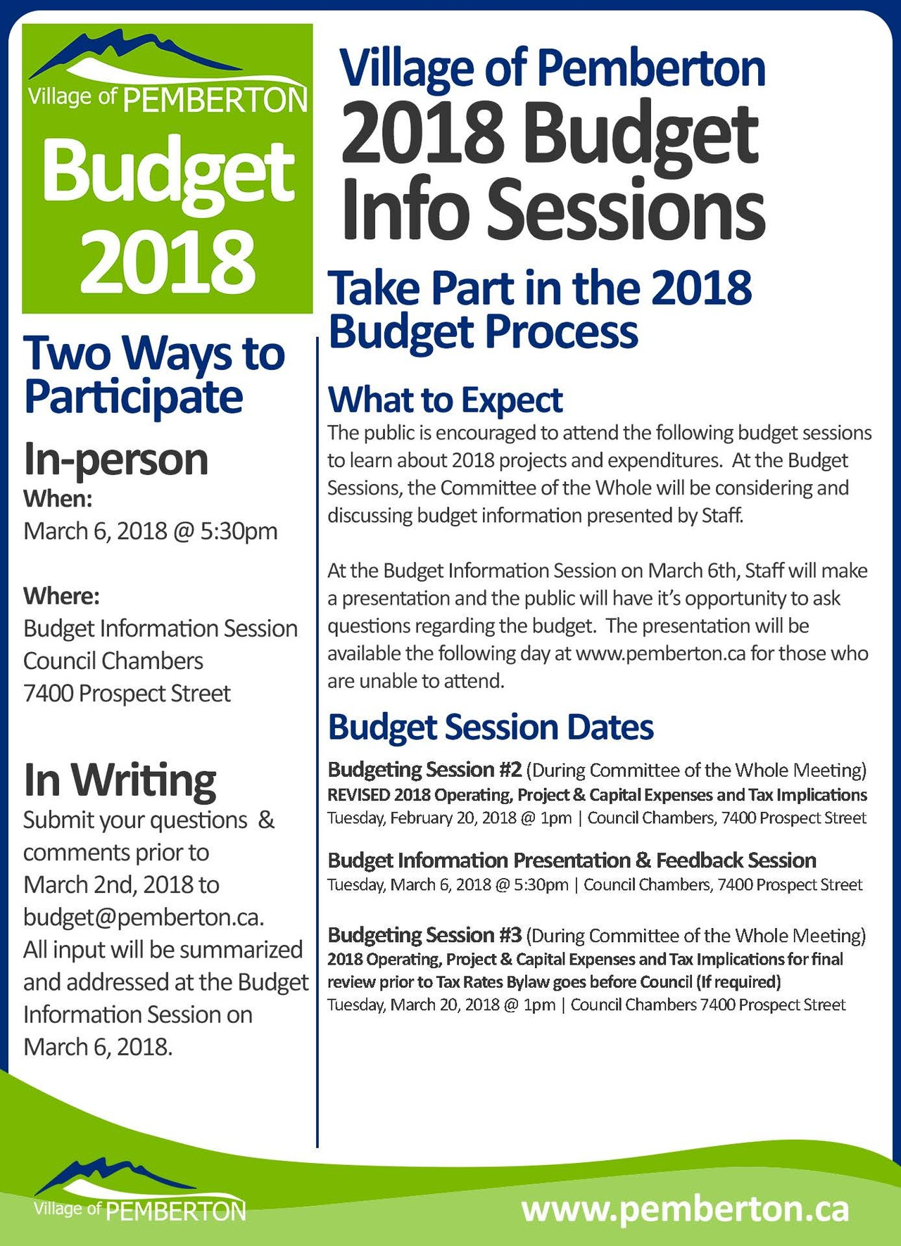 2018 budget process village of pemberton